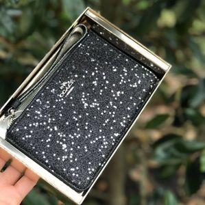 COACH F22705 Star Glitter Black Small Zip Wristlet